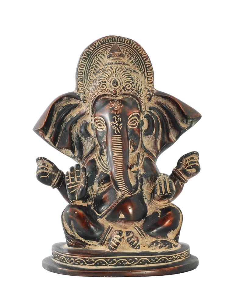 Long Ear Ganesha Oval Base Statue