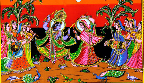 Lord Krishan Playing Dandiya with Radha
