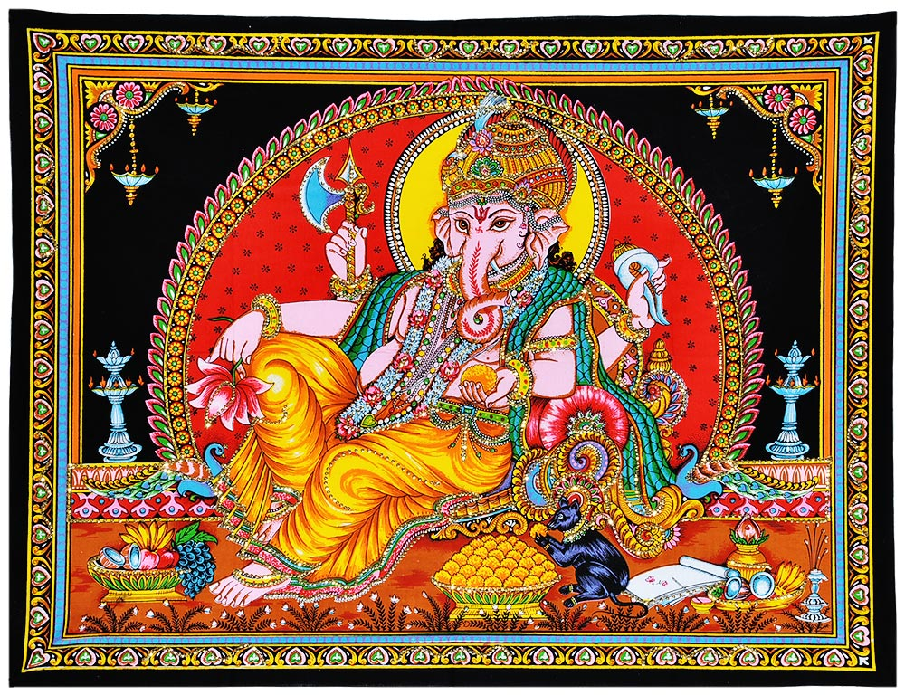 Resting Lord Vinayaka Cotton Painting with Sequin Work