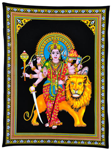 Goddess Sherawali Cotton Tapestry