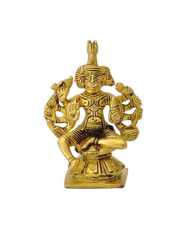 Five Headed Hanuman Small Brass Statue
