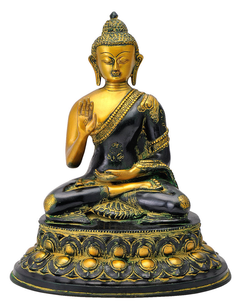 Meditating Half Closed Eyes Buddha Antiquated Figure 13.50""