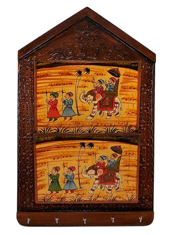 Rajasthani Wooden Key and Mail Organizer