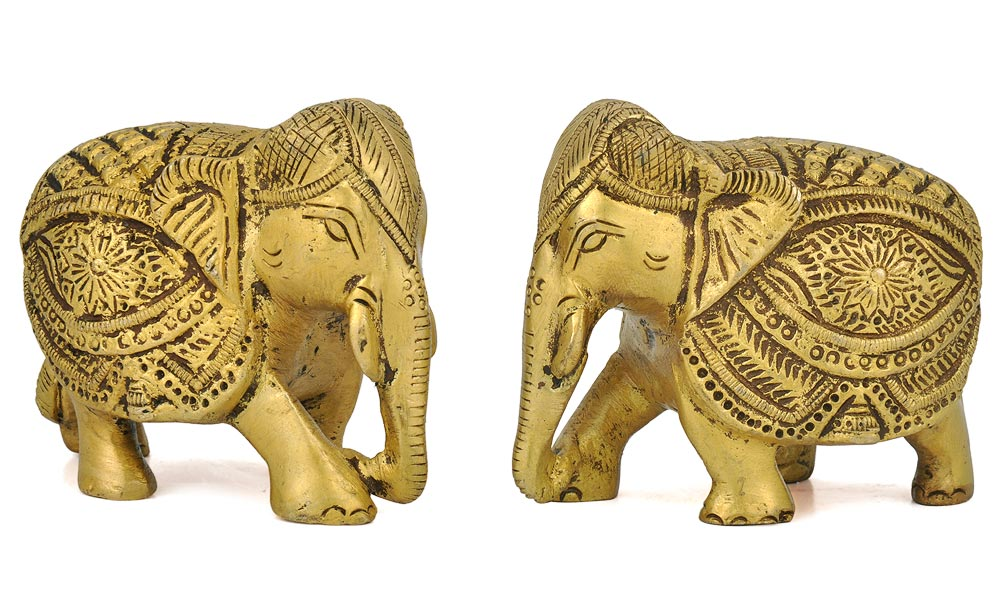 Brass Elephant Pair