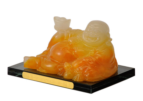Laughing Buddha Resin Figure in High Gloss Stone Finish