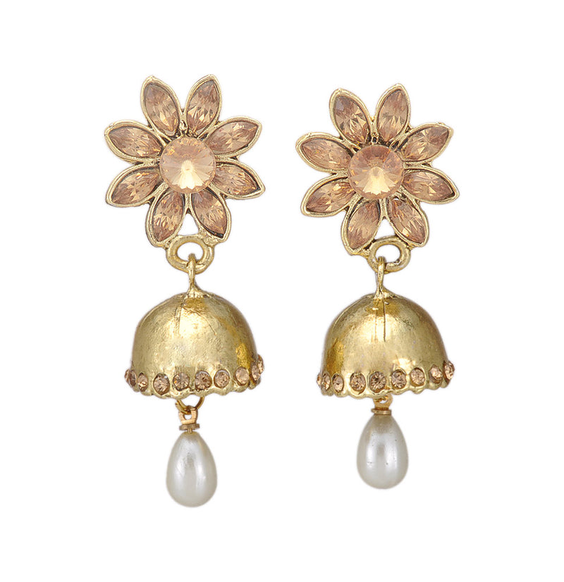 Pearl Drop Golden Jhumki Earring Studded with Stones