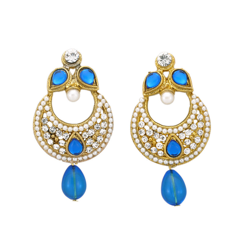 Golden Blue Party Wear Dangle Earrings