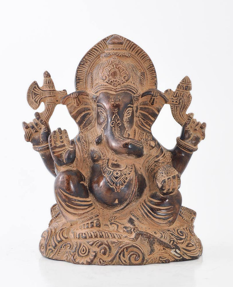 God Ganesh Old Finish Brass Statue