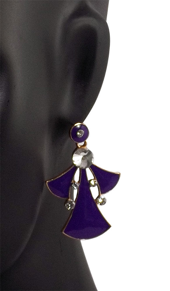 Designer Metal Purple Earrings Dangle and Drop for Women