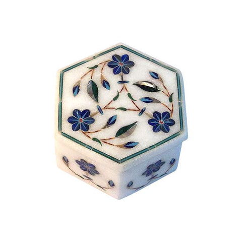Marble Box with Gem Stone Inlay