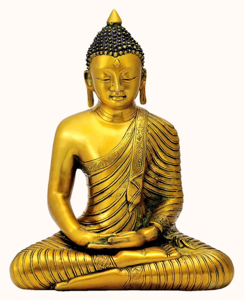 Golden Finish Buddha Meditating Peace Harmony Sculpture