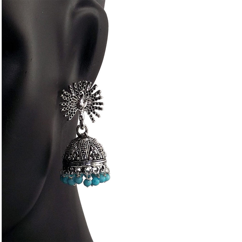 Peacock Beautiful Indian Style Sliver Color Jhumki Earrings