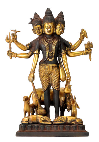 Bhagwan Dattatreya Brass Statue in Antique Finish 12""