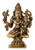Antiquated Brass Pashupatinath Shiva with Devi Parvati