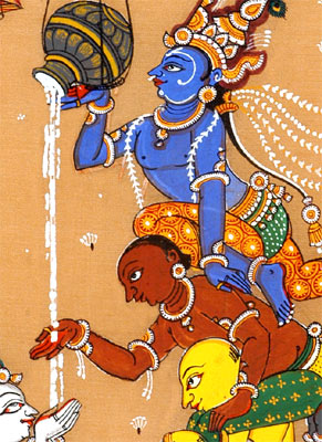 When Krishna Stole Butter - Patachitra Painting 12""