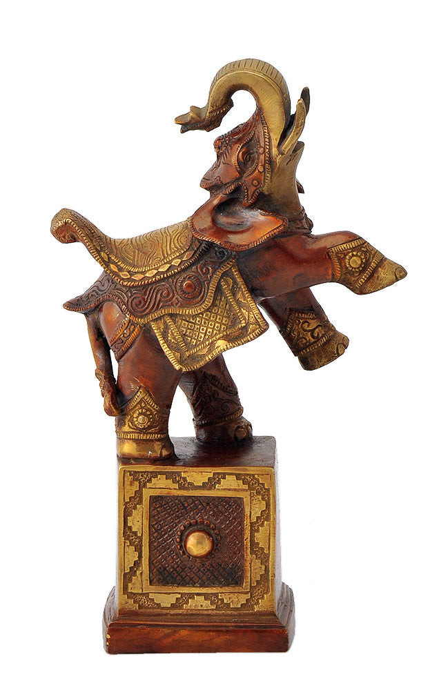 Brass Decorative Elephant with Upraised Trunk