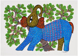 'Elephant' Gond Tribal Painting 14""