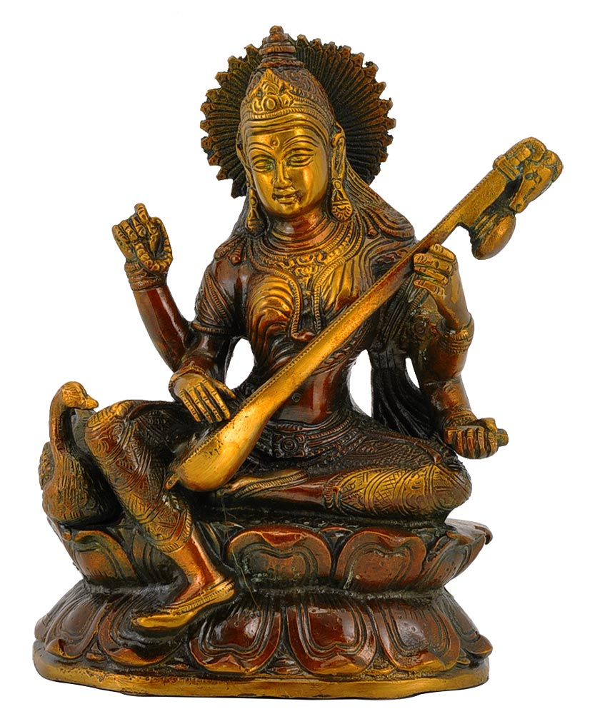 Goddess Saraswati Seated on Lotus Brass Statue 8.75""