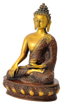 Healing Buddha Brass Statue Golden Brown Finish