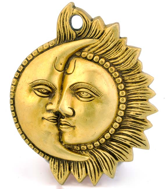 Sun and Moon - Brass Wall Plaque