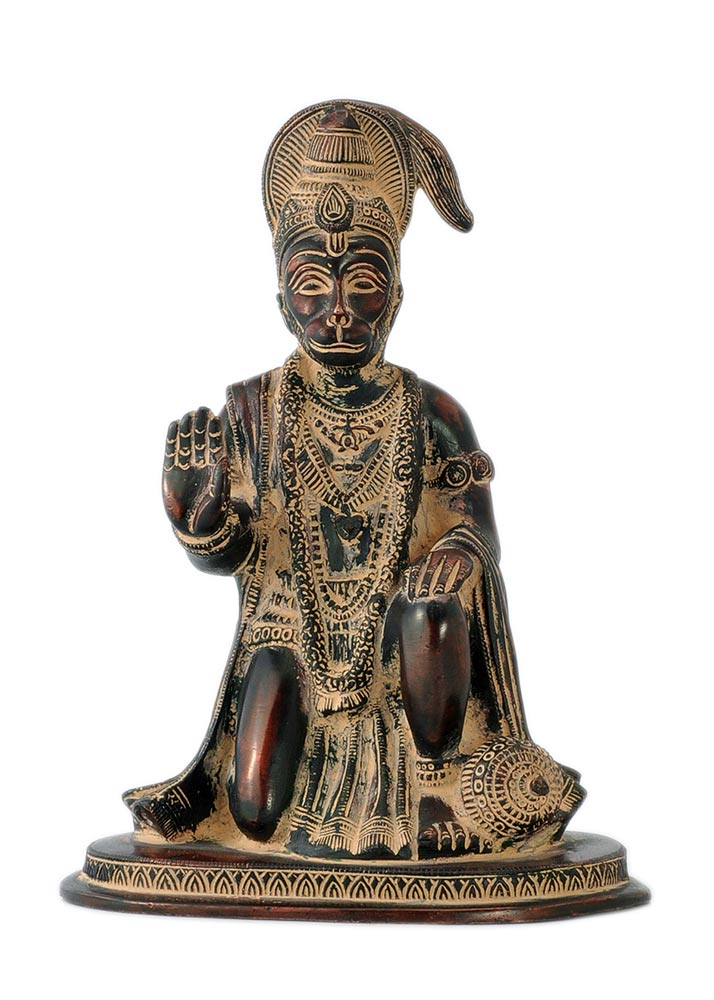 Seated Lord Hanuman in Rustic Copper Finish