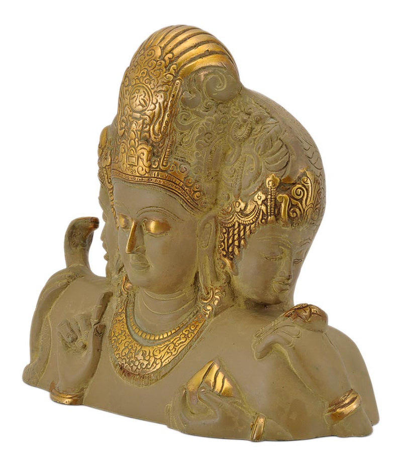 Elephanta Trimurti Brass Sculpture in Rustic Golden Finish