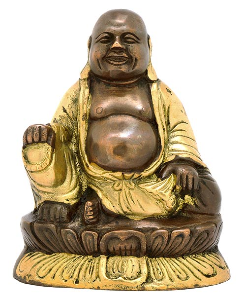 Laughing Buddha - Brass Statue