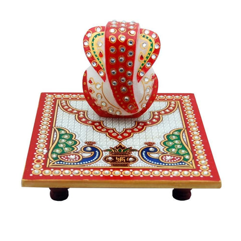 Decorative Ganesh Chowki - Hand painted with traditional color scheme