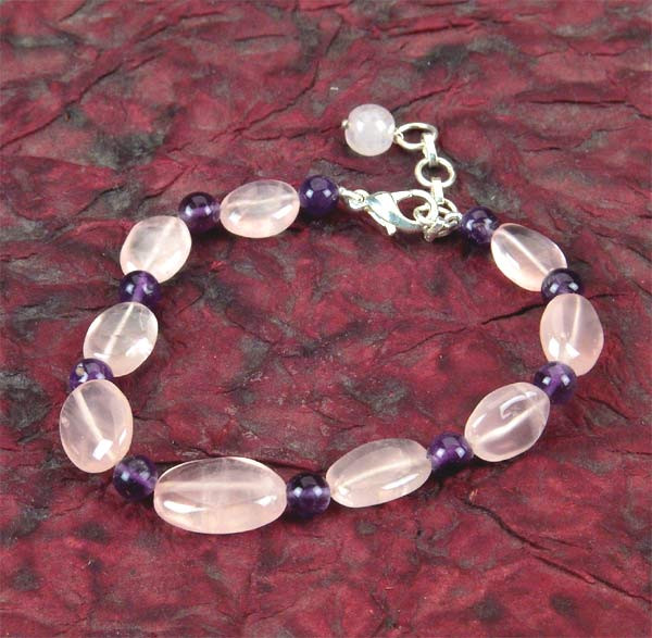 "Rose & Amethyst Bracelet for mind healing and love 7""L"