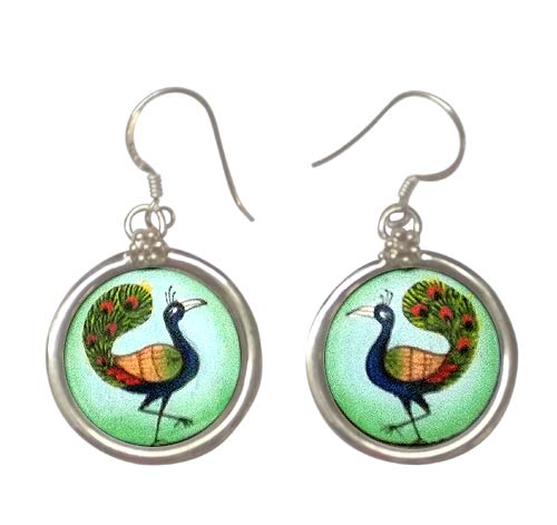 Peacock Silver Earrings