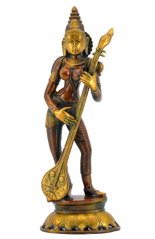 Standing Lady with Veena Brass Statue 17.25""
