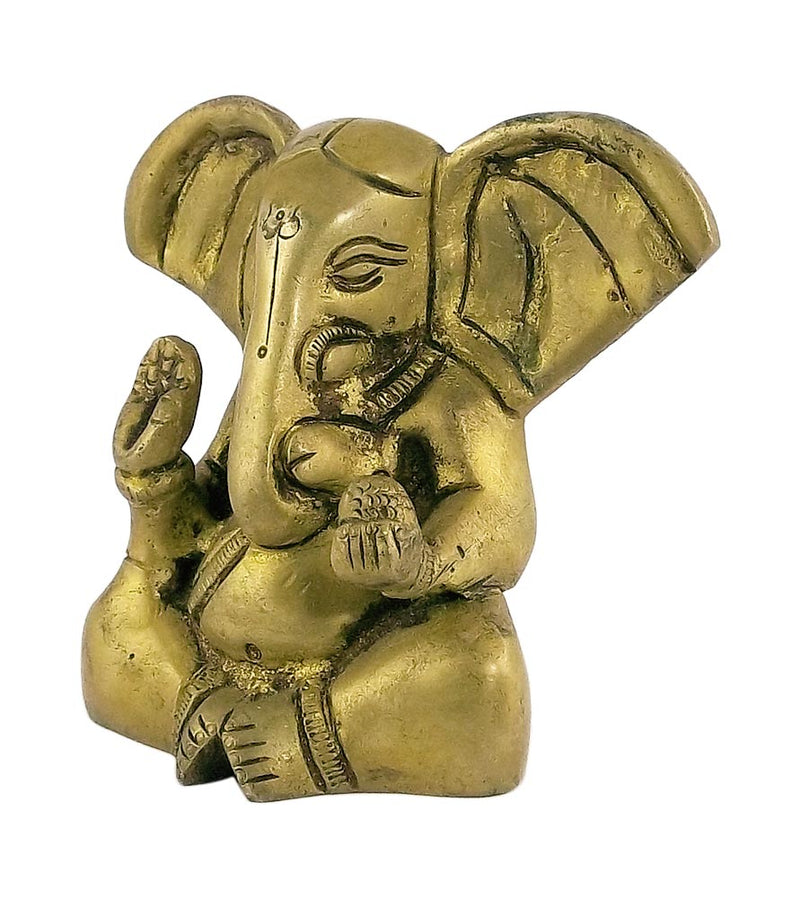 Baby Ganesha God of Good Luck - Small Brass Statue