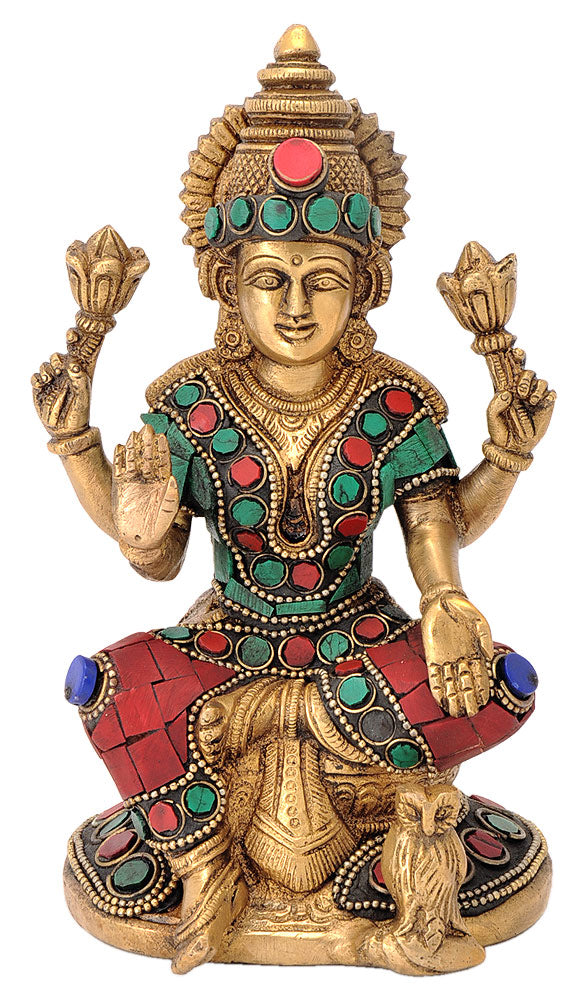 Goddess Lakshmi Maa Seated on Chowki Brass Statue