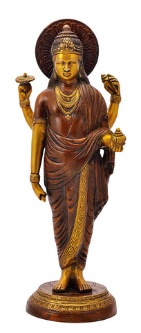 Lord Dhanvantari Figure in Golden Brown Finish