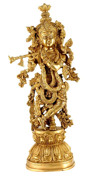 Beautiful Lord Venu Gopala - Brass Sculpture