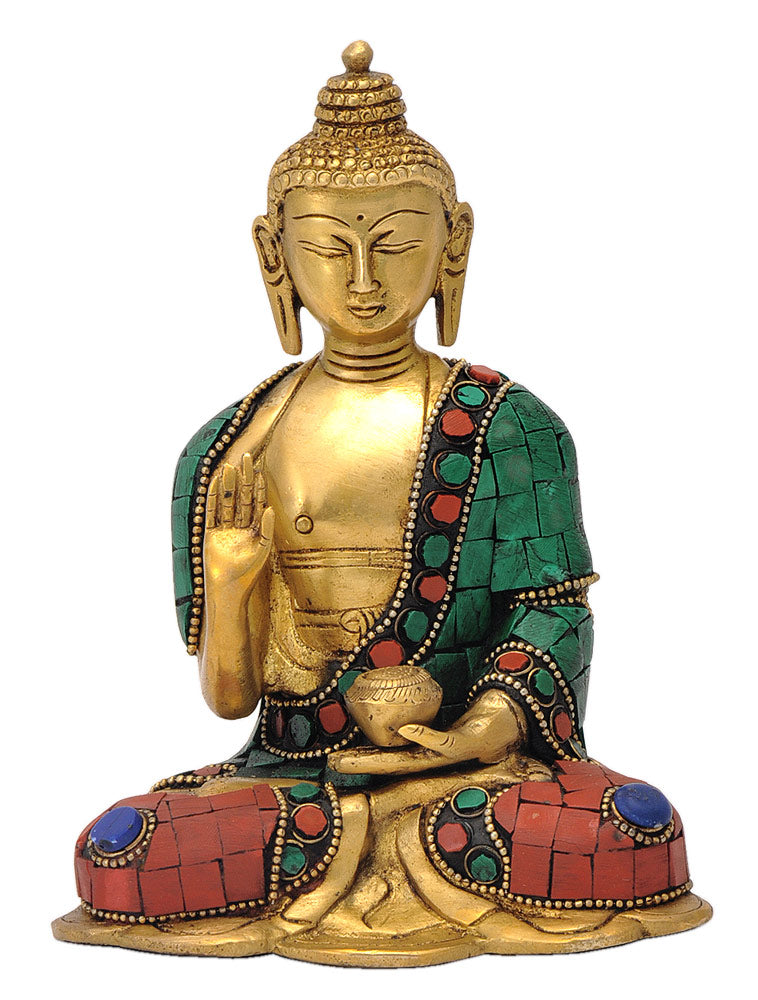 Blessing Buddha Brass Statue with Turquoise Coral Finish
