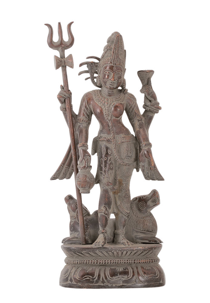 Lord Ardhanarishwar Antiquated Brass Statue