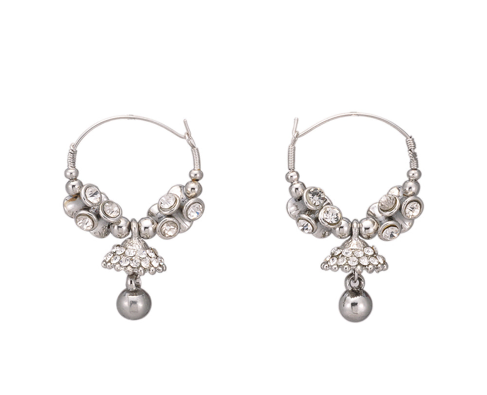 White Metal Dangle & Drop Earring