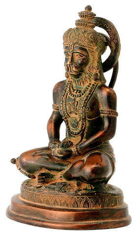 Antiquated Brass Lord Hanuman in Meditation