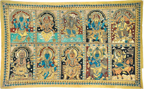 Ten Incarnations of Sri Vishnu - Cotton Kalamkari Painting