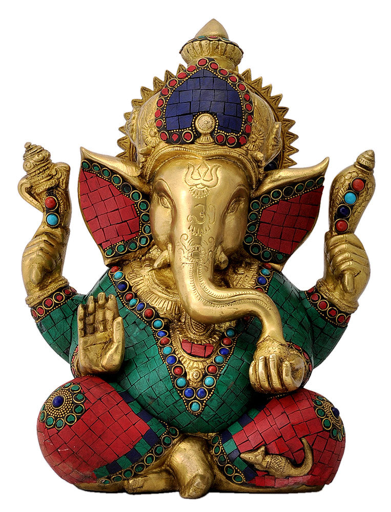 Lord Gajanana Ganpati Brass Sculpture
