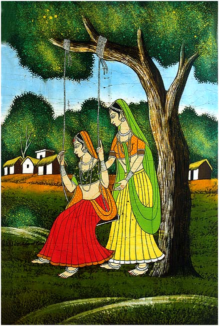 The Swing of Teej - Batik Painting