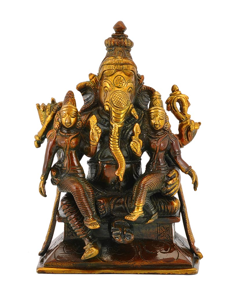 Ganesh with Riddhi Siddhi Brass Statue