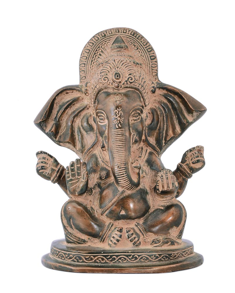 Gajamukha Ganesh Unique Rustic Finish Brass Figurine
