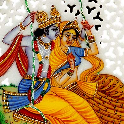 Radha & Madhava on a Swing - Marble Painting