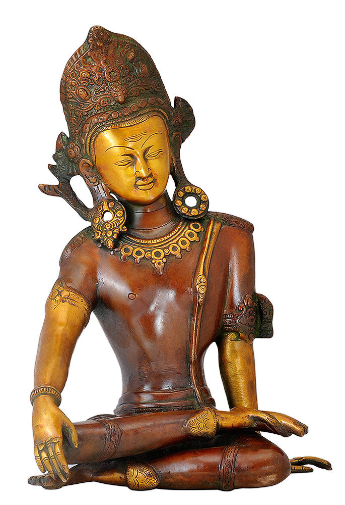 Seated Indra Dev Golden Brown Finish