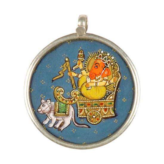 Ganesha on Chariot - Handpainted Pendant