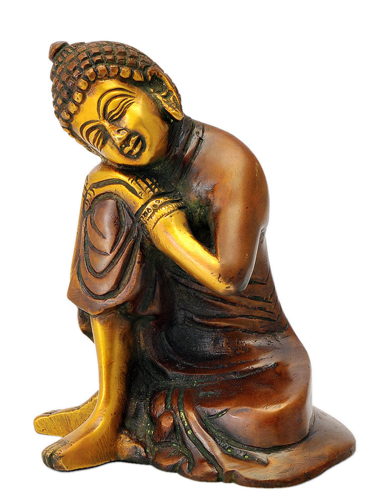 Sleeping Buddha Figurine in Golden Copper Finish 5""