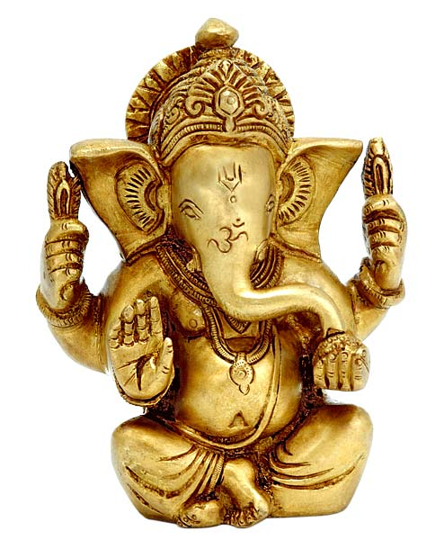Seated Lord Vinayak - Brass Statuette