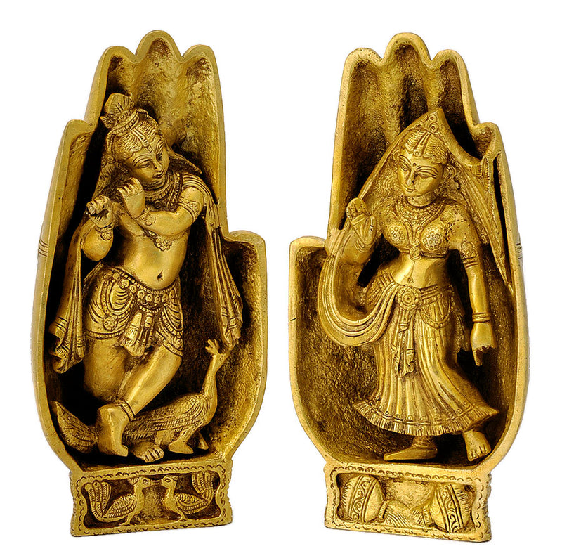 Lord Krishna and Radha Rani Sculpted on Hand Brass Sculpture